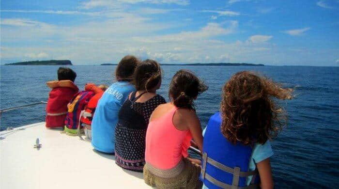 Children whale watching