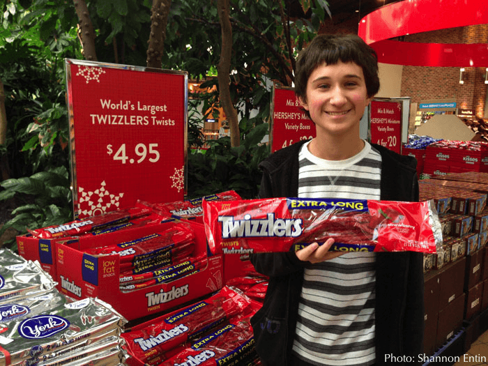 Buying holiday treat at hershey