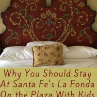 La Fonda Santa Fe is a remarkable hotel with a pool and an amazing native American art collection. And it sits right in the middle of Old Town. Read more about why our family loved it. #hotel #lafonda #santafe #newmexico #families