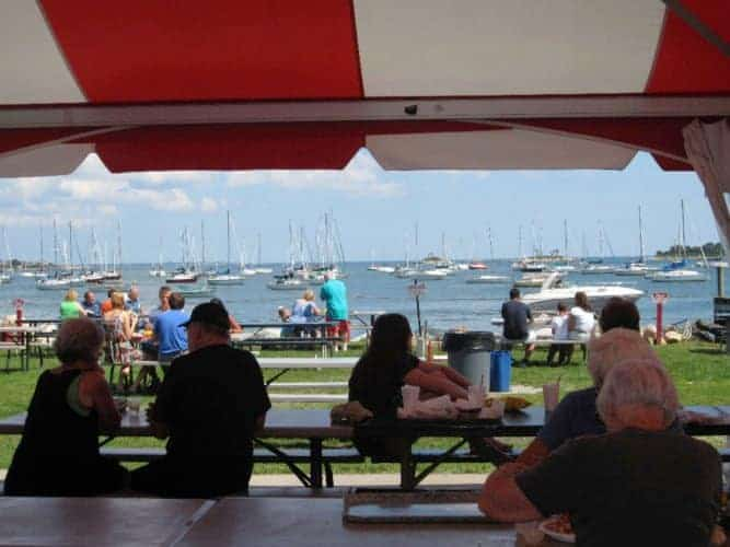 Abbott's lobster shack has outdoor picnic tables with views of the sailboats in the long island sound.