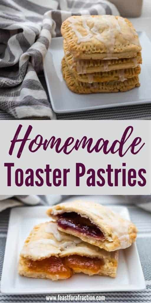 """collage of two images of toaster pastries on white plate with gray and white napkin with title text """"Homemade Toaster Pastries"""""""