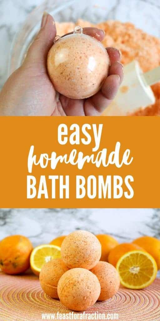 collage image of bath bomb in mold and diy bath bombs on colorful placemat