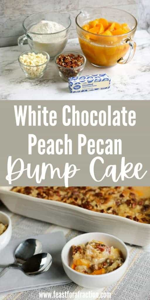collage of white chocolate peach dump cake and cooked cake in white casserole dish