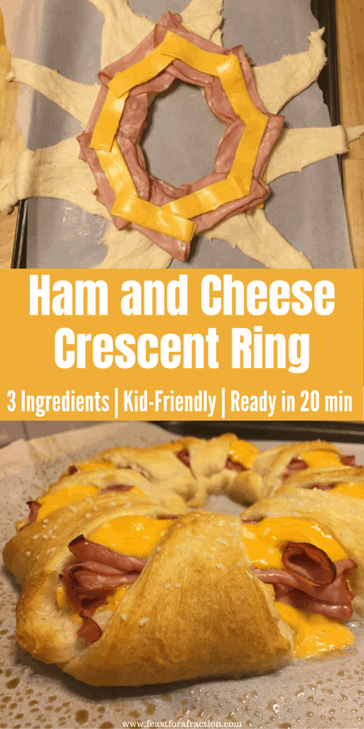 collage of crescent rolls, ham and cheese