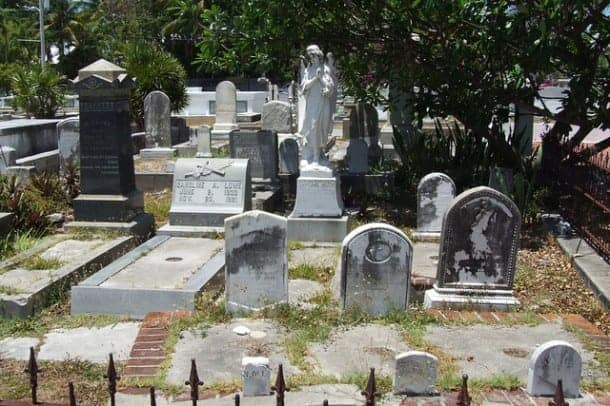 key west cemetery by falling angel Florida Keys Overseas Highway Mile-Markers Guide