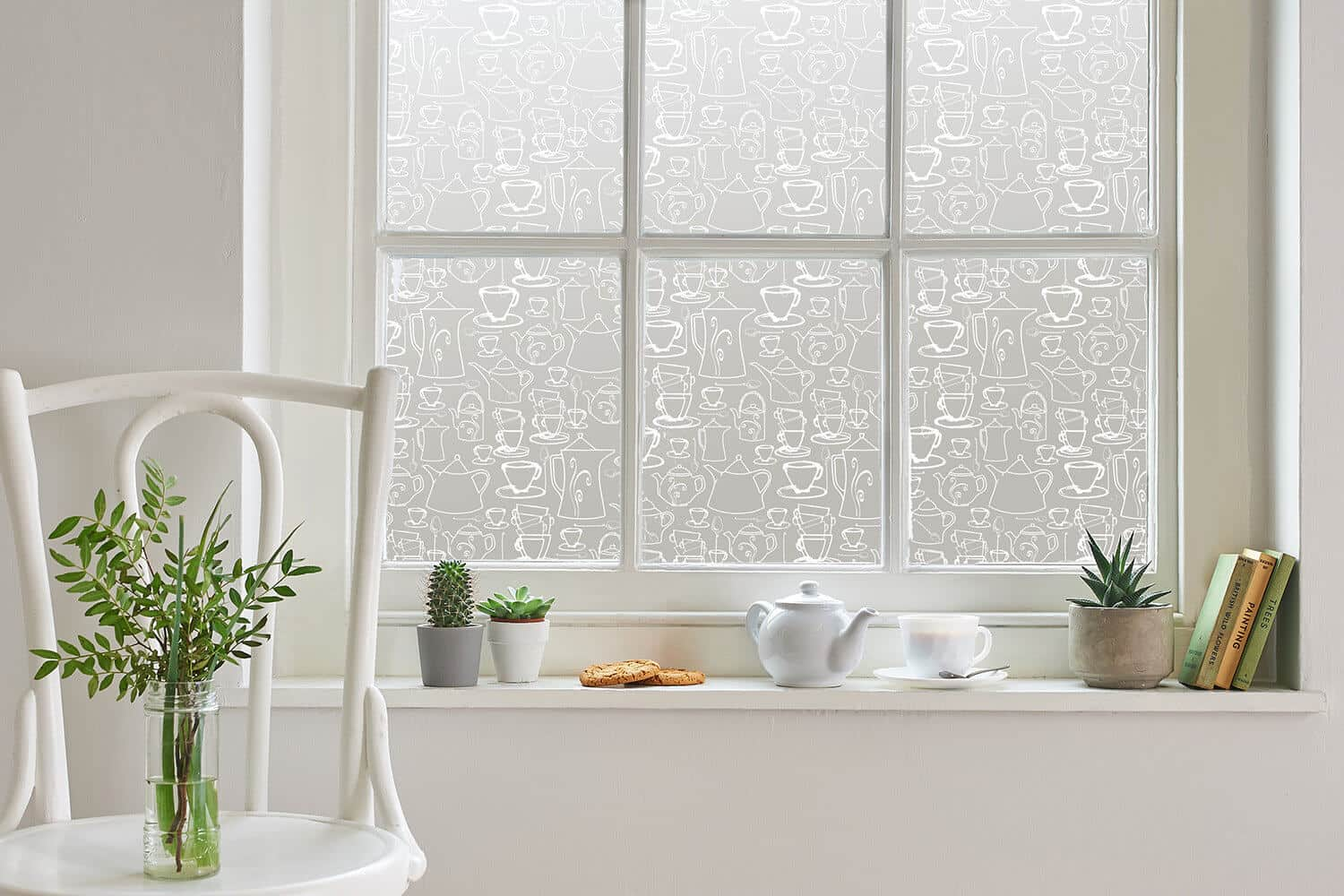 Studio sash windows used to show window film designs by Helen Russell Creations and printed by the Window Film Company