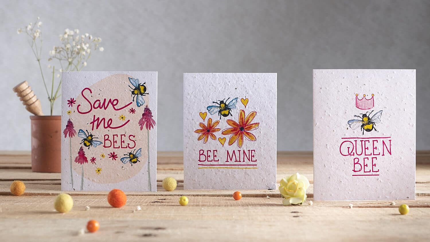 Styled greetings card product photography including props and cards by Hannah Marchant illustrates