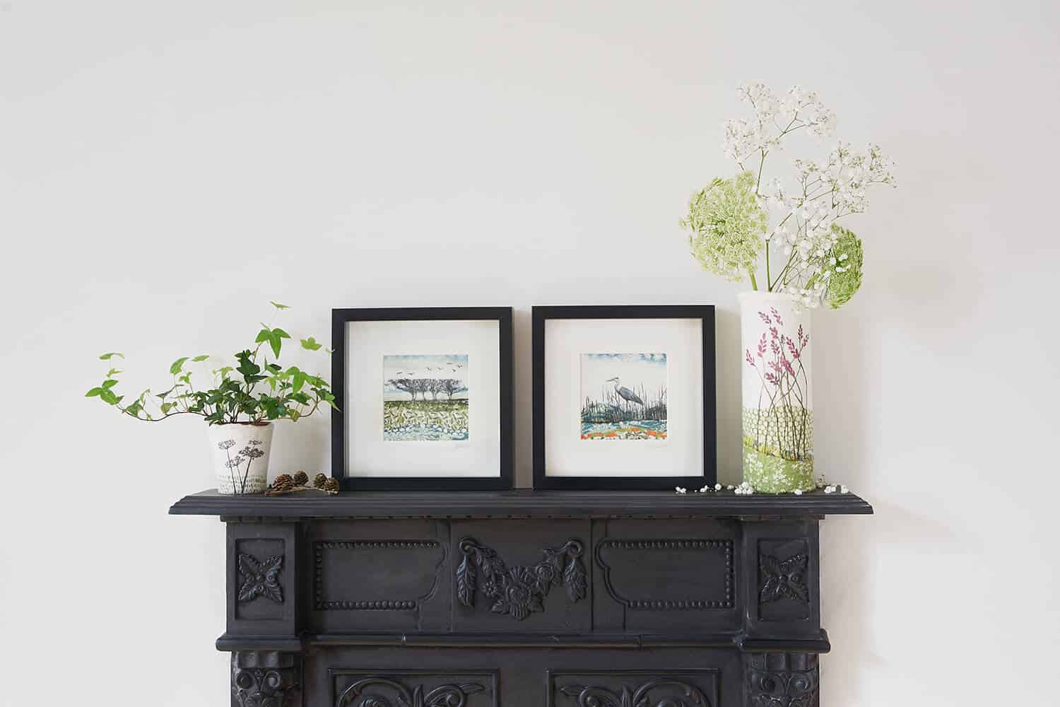 Lindsey Tyson textiles and prints shot on top of the studio's cast iron fireplace