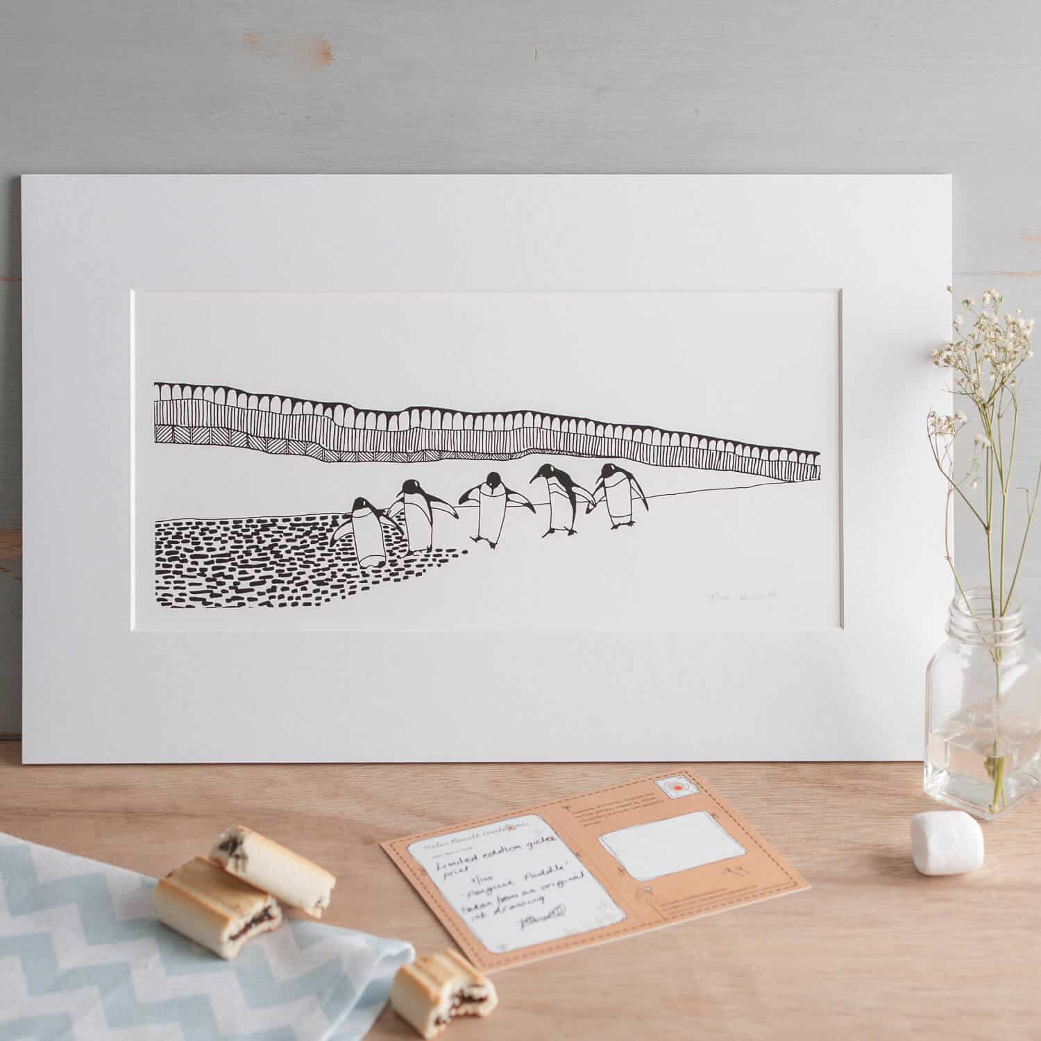 Creative designer Helen Russell's print photographed with gysophilia
