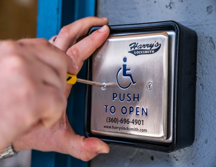 Handicap door push button
