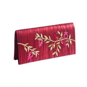 Yair Emanuel Embroidered Fashion Evening Bag: Pomegranates