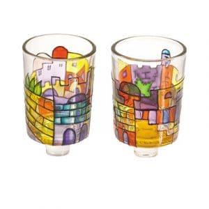 Yair Emanuel Candelabros de vidrio pintado: Jerusalém