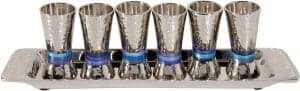 Yair Emanuel 6 Cups Set: Blue Rings -Nickel