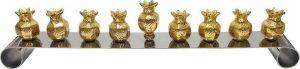 Miniature Menorah: Brass Pomegranates