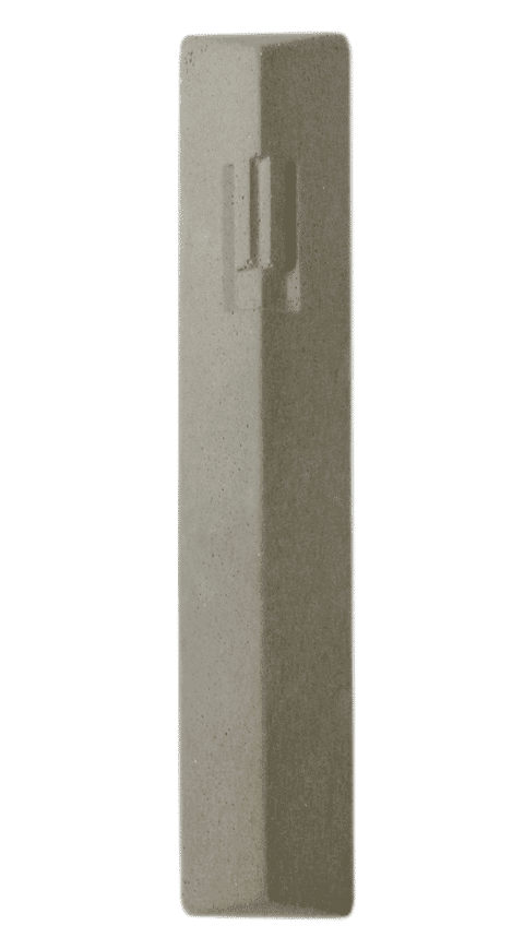 Mezuzah Concreta Forma Geométrica de La Letra ש (Shin) - gris