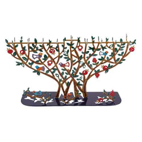 Hanukkah Menorah T-lights - Laser Cut - Pomegranate Tree
