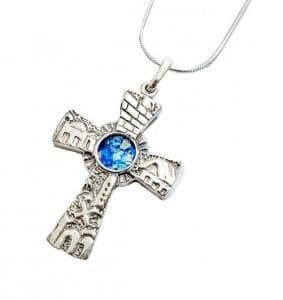 Jerusalem  Cross Roman Glass 925 Silver