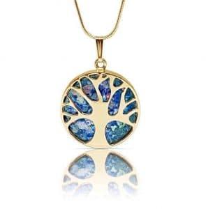 14K gold Tree of Life Roman Glass Pendant Necklace, Gold Tree of Life necklace