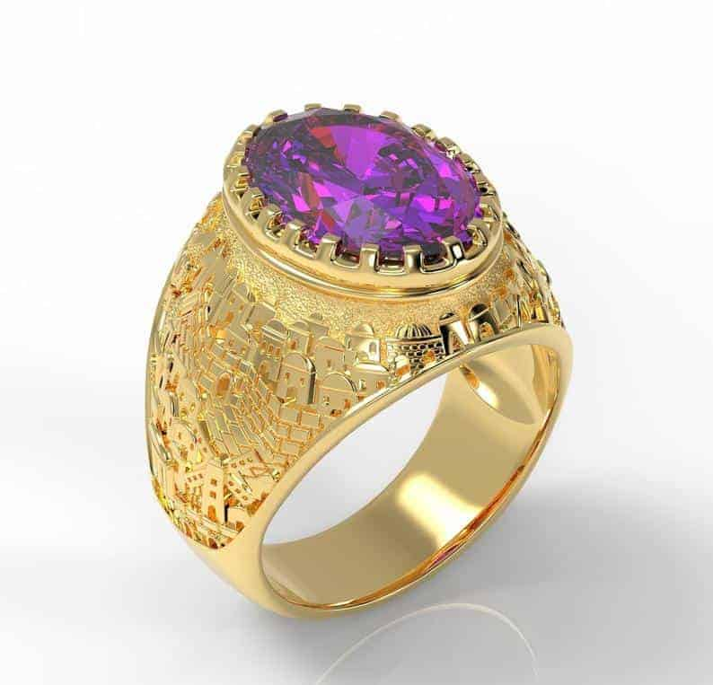 14k Gold 3D Jerusalem Ring Amethyst Gemstone