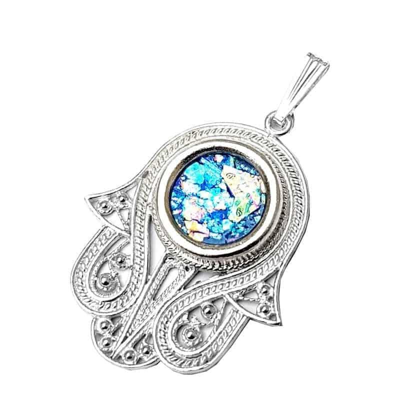 925  Silver Hamsa Pendant Roman Glass