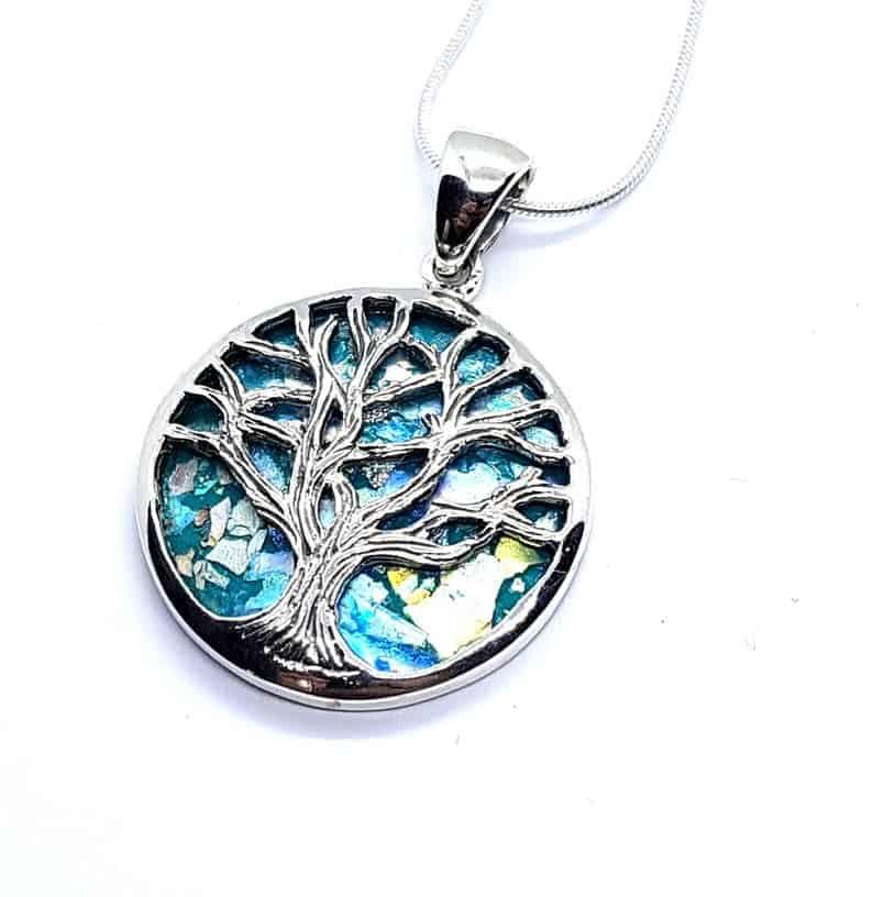 Silver Tree of Life Roman Glass Pendant