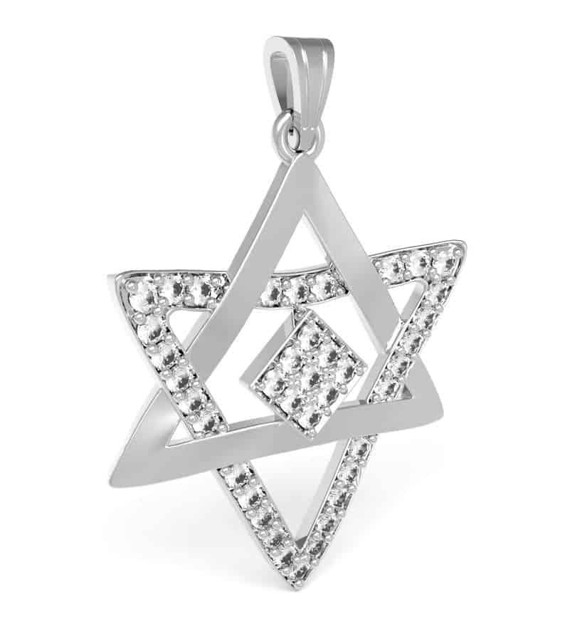 14k White Gold Star of David Pendant