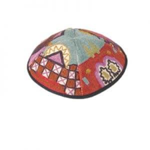 Embroidered Kippah - Multicolor