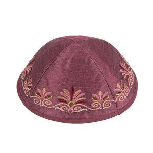 Embroidered Silk Kippah - Flowers Maroon