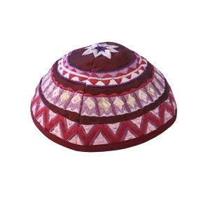 Embroidered Silk Kippah - Geometrical Magenta