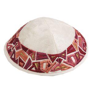 Embroidered Silk Kippah - Geometrical - White and Maroon Border