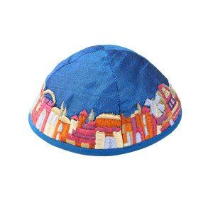 Embroidered Silk Kippah - Jerusalem Blue