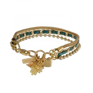 Gold Charms Bracelet - Turquoise
