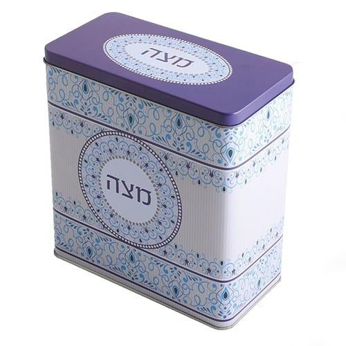 THIN MATZAH BOX - purple lettering in hebrew