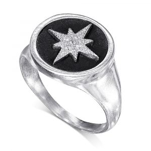 Star seal ring - pure silver