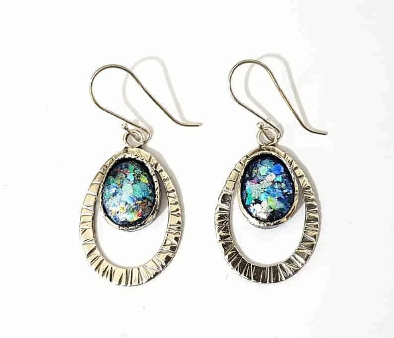 Colorful Roman Glass 925 Sterling Silver Earrings