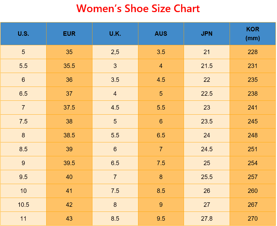 Printable Women's Shoe Size Chart for US EUR UK AUS JP KOR uk to us shoe size