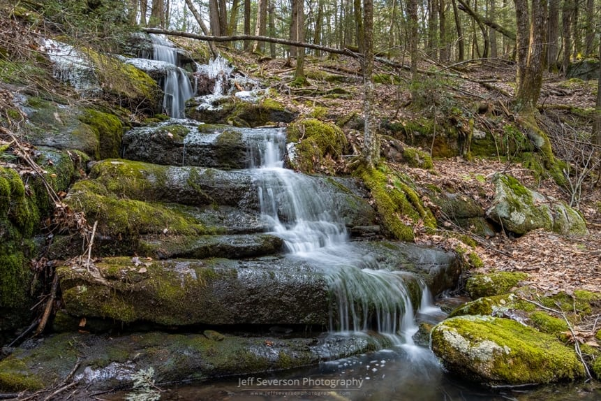A photo of the seasonal waterfall known as Mossy Brook at Mohonk Preserve on a December morning.