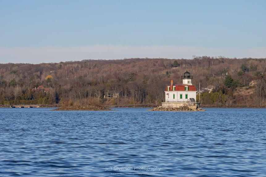 A photo of the Esopus Lighthouse on the Hudson River on an April evening.