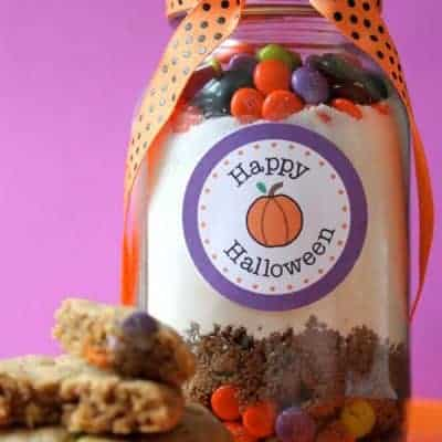 Halloween M&M Cookies in a Jar