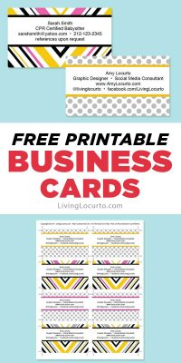 Free business cards - Free printable template you can edit. LivingLocurto.com