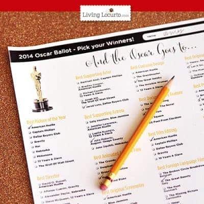 2014 Oscars Ballot ~ Free Party Printables