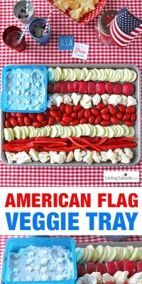 American Flag Vegetable Tray - Easy 4th of July Party Appetizer - Dill Dip Recipe