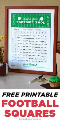 Football Squares Game Template - Free Printable Football Party Game Poster