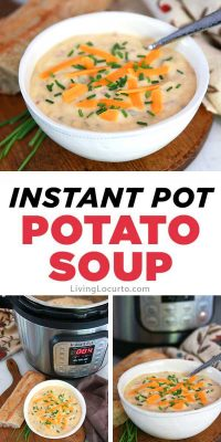 Instant Pot Potato Soup Recipe - Easy pressure cooker dinner for loaded baked potato soup. LivingLocurto.com