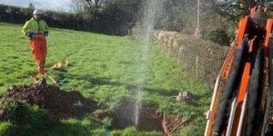 mains water leak in a fied