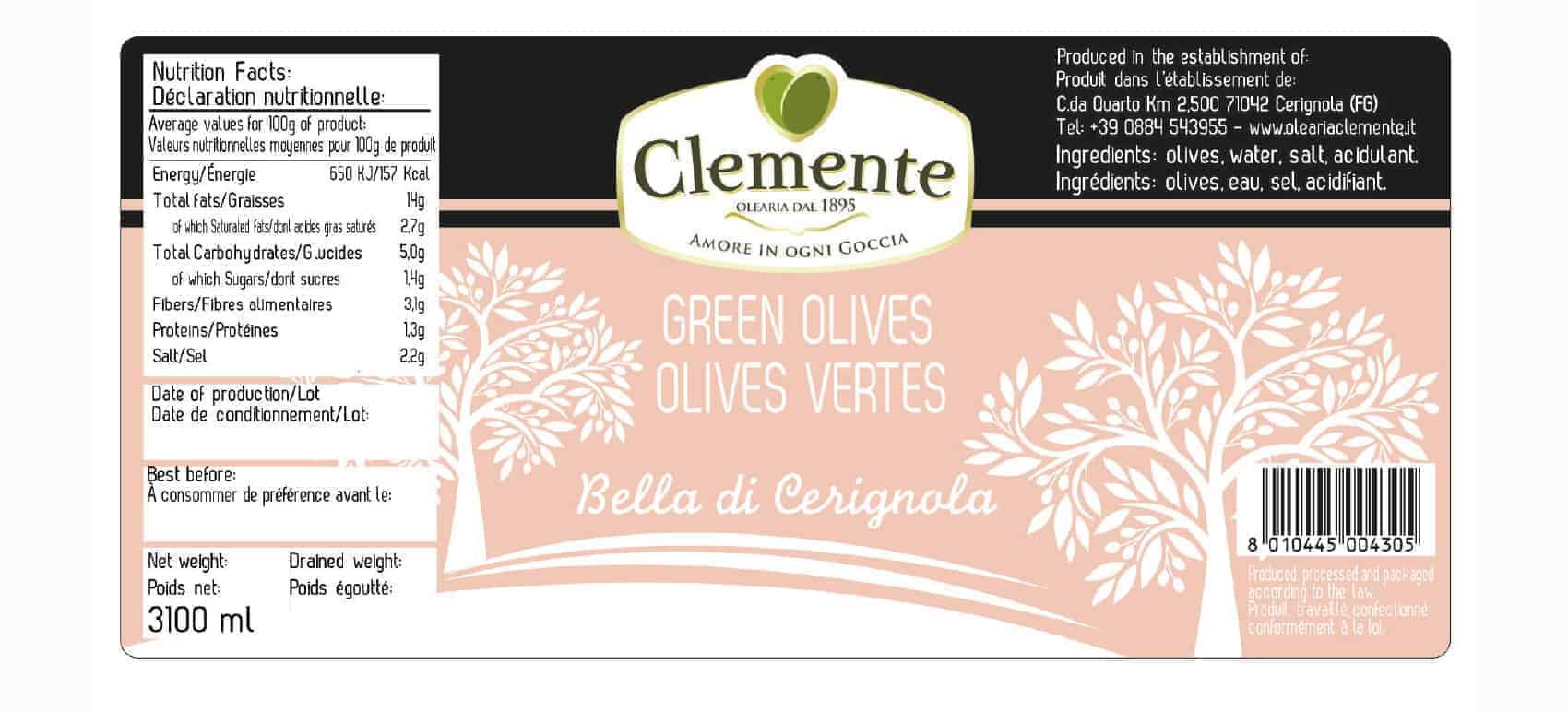Olive Verdi Bella Cerignola - Etichetta