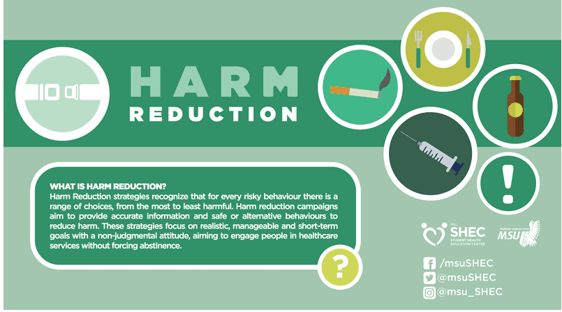 What is Harm Reduction Poster from the student health education center at McMaster's Student Union.