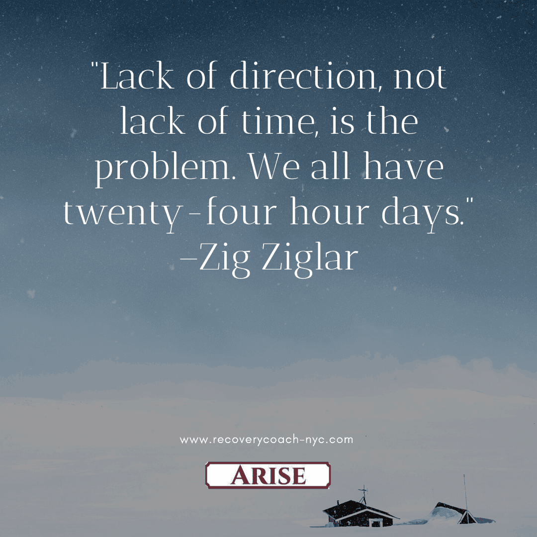 Focus is a benefit of your recovery plan.  This image depicts Zig Ziglar's quote on focus.