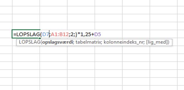 LOPSLAG i excel formel. Hvordan virker LOPSLAG i en formel. Liste opslag i database