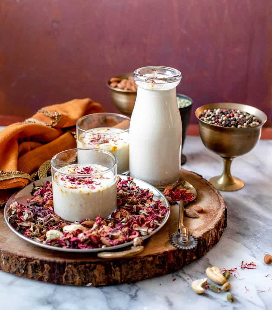 Almond milk infused with sweet spices and rose petals